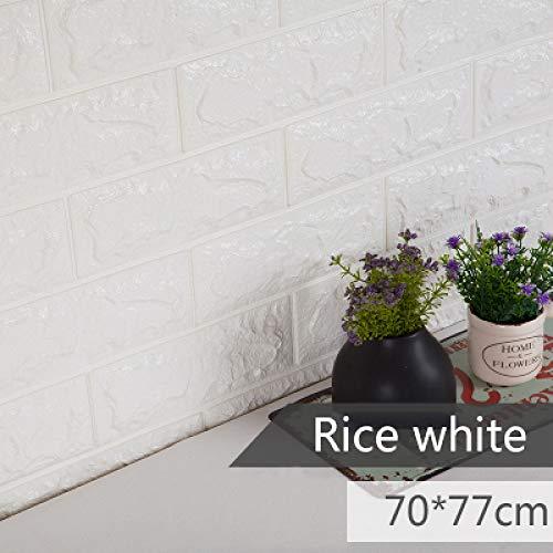 3D Decorazioni per Camera da Letto Schiuma Decorazioni in Mattoni Decorazioni per pareti Wallpaper Decorazioni per la Camera dei Bambini Adesivo da Parete per Bambini Bianco di Riso 70x77cmx5PCS