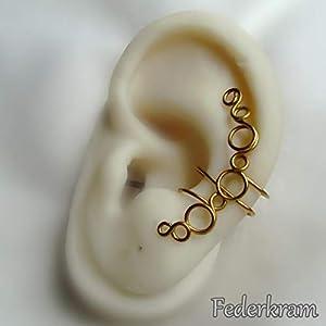 Blubbel Ohrschmeichler golden Messing. Ear cuff earcuff Ohrklemme Ohrclip ohne Piercing