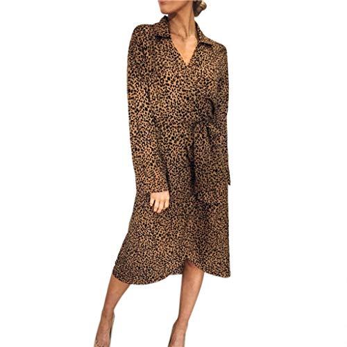 Batik-print Rock (BestShope ♞♜♛ Damen Freizeitkleider, Röcke Leopard Print V-Neck Verband Lange Kurze Ärmel Krawatte Taille langes Kleid Sommerkleid Strandkleider Unterröcke Dirndlblusen Abendkleid Für Frauen Mädchen)