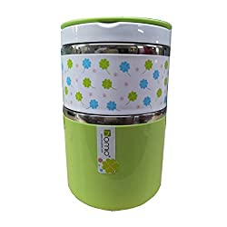 GiftsPlanet Homio Two Layer 900ML Stainless Steel Lunch Box - Green