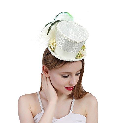 GHC Hüte & Mützen Mini Top Hut, Tee Hut, Alice im Wunderland, Off White Mini Top Hut, Creme Elfenbein Mad Hatter Tee Hut, Bridal Hat, Kentucky Derby Hut (Farbe : Weiß, Größe : 25-30cm)