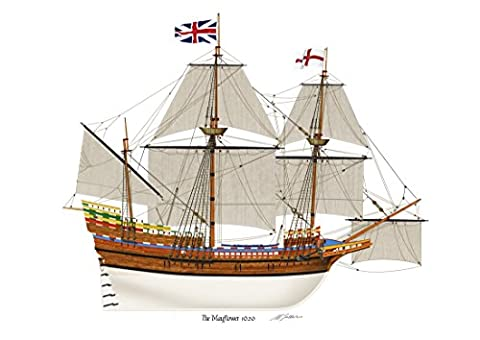 The Mayflower 1620 Pilgrim Fathers Profile Artwork, A4 Glossy Print