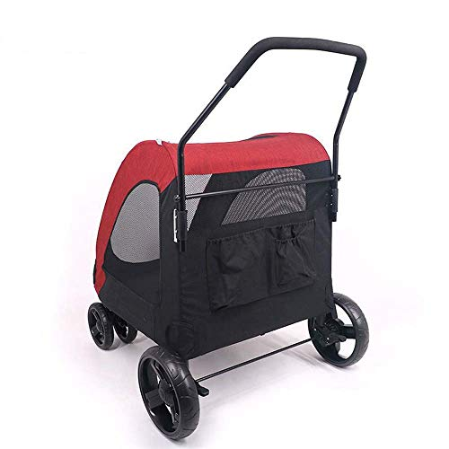 YSY PET Four-Wheeled Cart Dog Cart Cat Stroller Folable for Medium-Sized Large Dog-Infected Dog Pets Out, Load Within 60 Kg-Red,Red