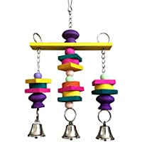 Colorido madera mascotas loro pájaro Juguetes Columpio Guacamayo africana Greys Budgies Masticar juguete de jaula con campanas