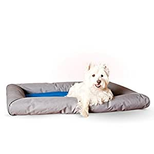 """K&H Manufacturing 25 by 32"""" Cool Bed Deluxe with Bolster, Medium, Blue/Gray by K&H Manufacturing"""