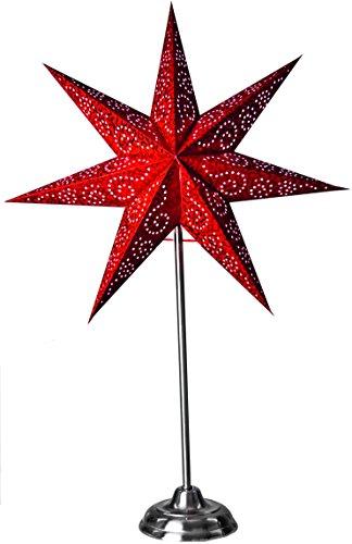 Star Papierstern Antique inkl. Aufhängung, Papier, rot, 14 x 48 x 48 cm