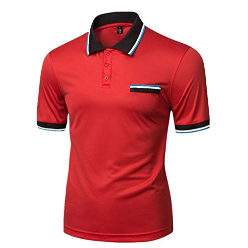 Honghu Herren Kurzarm Casual Outdoor Polo Shirts Rot