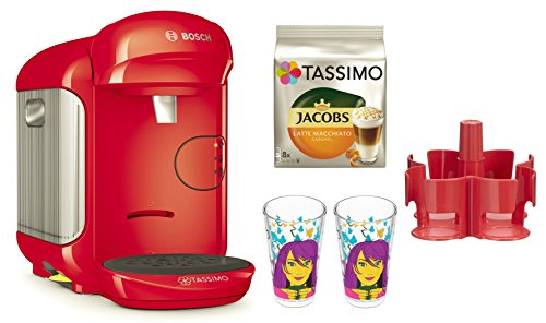 Bosch TASSIMO VIVY 2 + T Disc+ Ritzenhoff Gläser + Spender (Rot)