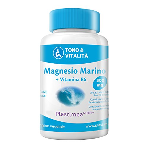 Magnesio Marino + Vitamina B6 Nutrimea - 300 mg al giorno - Combatte contro FATICA e STRESS • Cura di 4 MESI • 120 capsule di origine vegetale • L'unico Magnesio Marino Registrato Presso il MINISTERO DELLA SALUTE ITALIANO