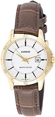 Watch For Women By Casio, Analog, Leather, Brown, Ltp-V004Gl-7A, Analog Display