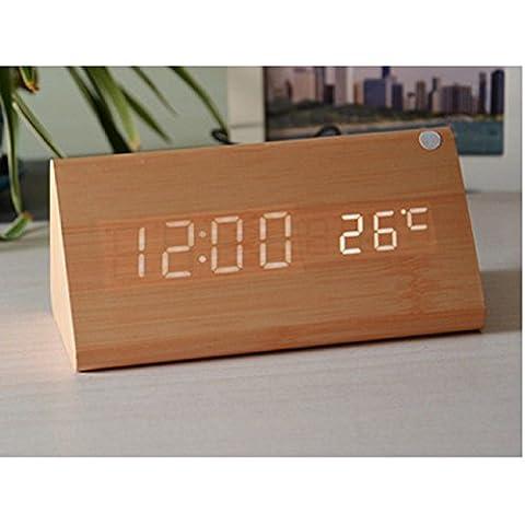XJoel triangolare di legno del LED Digital Clock elettronica orologi casa visualizzazione dell