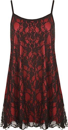 WearAll Camicetta senza maniche, da donna, in pizzo, con chiffon, foderato e con strap Black Red 60-62
