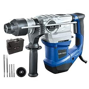 LUX-TOOLS BHA-1500 Bohrhammer mit SDS Plus Aufnahme, Antivibrationsgriff & Tiefenanschlag inkl. Koffer | 230V 1500W…