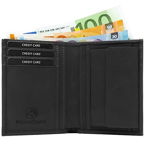 Wolfstrøm Geldbörse Sveylå - Slim-Wallet mit Münzfach & RFID-Blocker - Herren-Portemonnaie Hochformat mit Scheinfach, Herren-Geldbörse, Herren-Geldbeutel, Portmonee - Schwarz - Leder Taschen Business Card Case