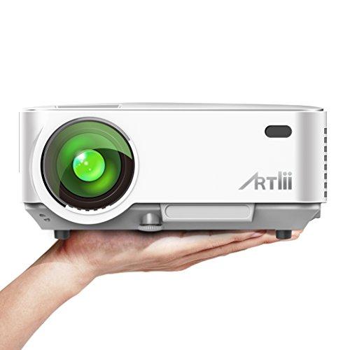 Videoprojecteur LED, ARTLII Rétroprojecteur 1500 Lumens HD 1080p 1000:1 Grand Screen Projecteur pour Jeu TV vidéo Film (Blanc)