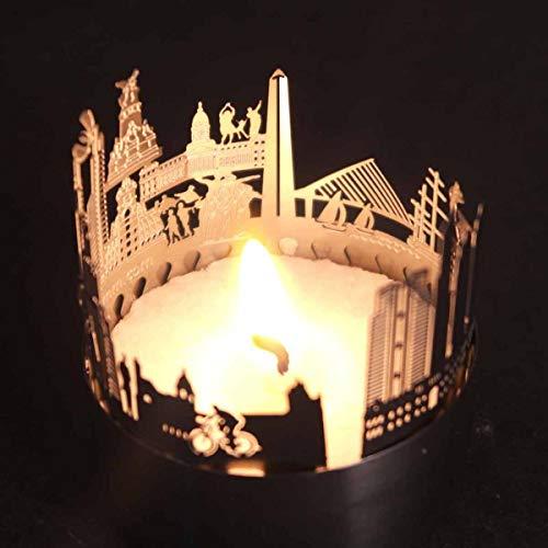 13gramm Buenos Aires-Skyline Windlicht Schattenspiel Souvenir, 3D Edelstahl Aufsatz für Kerze inkl. Karte