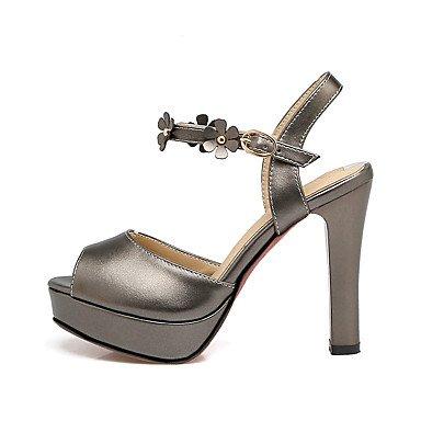 LQXZM Sandales femmes Chaussures Club de fleurs robe simili cuir Talon Rouge Rose Noir Blanc 3in-3 3/4 Black