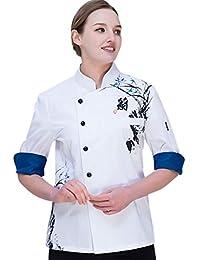 Dooxii Unisex Donna Uomo Autunno Manica Lunga Giacca da Chef Traspirante Ristorante  Occidentale Torta di Cottura 59106a314ba9