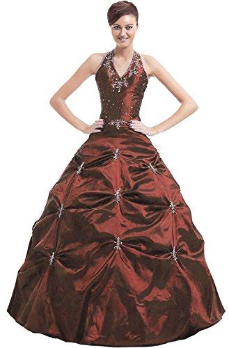 Kmformals Damen Halfter Prom BallKleid Abendkleid Quinceanera Kleider Größe 46 Burgund (Quinceanera Burgund Kleid)