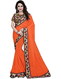 Sarees(Online Hub Womens Clothing Saree For Women Latest Georgette Latest Saree With Blouse Free Size(Orange Peacock...
