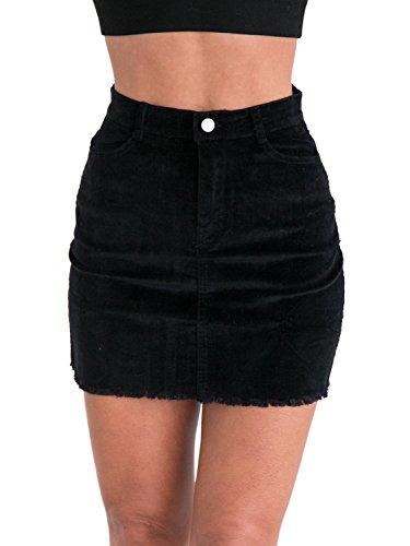 Simplee Apparel Damen Kurz Röcke High Waist Bleistift Knielang Rock Corduroy Skirt mit Fransen Schwarz