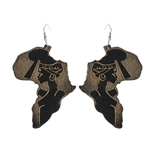 sunhoyu Silber Ohrringe für Frauen, Naturholz Afrika Karte Reggae Ohrringe Frauen Übertrieben Anhänger Bib Schmuck -