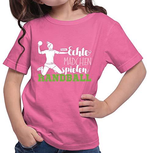 HARIZ  Mädchen T-Shirt Echte Mädchen Handball Sportlich Plus Geschenkkarte Pink 152/12-13 Jahre