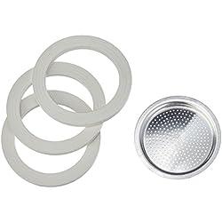 Bialetti 0109744 Accessoires Café et Dosette Blister Aluminium 3 Joints + Filtre 2 Tasses - Argent/Blanc