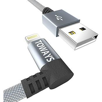 iPhone Ladekabel Toways Lightning Kabel [Apple MFi zertifiziert] 90 Grad Winkel Stecker 0.15m Nylon USB Datenkabel für iPhone 7 / 7 Plus / 5 / iPhone 6 / iPhone SE / 6 / 6 Plus / 6s / 6s Plus / 5 / 5c / 5s, iPad Pro Air Air 2 mini2 mini3 4th Gen, iPod Nano 7th Gen, DJI Mavic Pro Drone, Power Bank - Grau