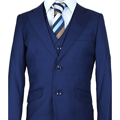 Jungen Designer Italian 3 STÜCK Französisch Blau Pagenjunge Anzug, Elegant Hochzeit, Abendessen, Prom-anzug - Französisch Blau, 158 (Stück Blau Anzug 3)