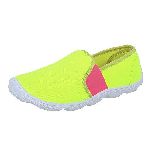 Damen Schuhe, C27-10, HALBSCHUHE SPORTLICHE SLIPPER Neongelb