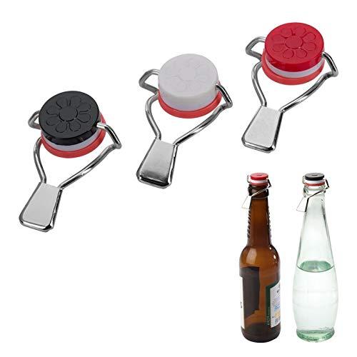 Westmark 3 Flaschen-Hebelverschlüsse, Mit Silikondichtung, Stahl, Rot/Weiß/Schwarz, 44402280