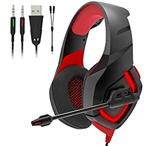 Onikuma K1 Stereo Over-Ear Noise Isolation Gaming Headset (Red and Black)