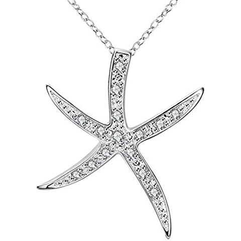 Gudeke Plateado Estrella de mar Collar pendiente con la cadena