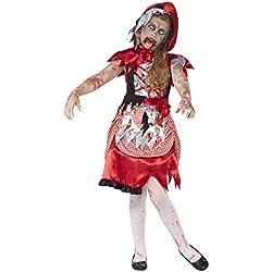 Smiffy'S 44285L Disfraz De 'Chica De La Caperuza' Zombi Con Vestido Y Capa Con Capucha, Rojo, L - Edad 10-12 Años