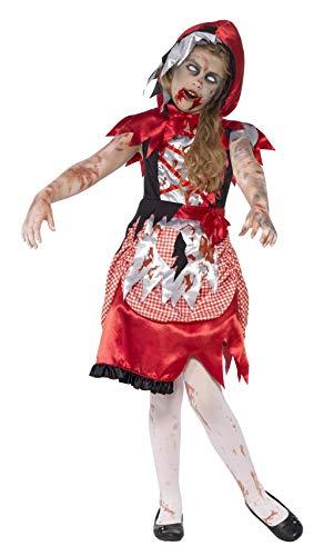 Smiffy's Smiffys-44285M Disfraz de 'Chica de la caperuza' Zombi, con Vestido y Capa con Capucha, Color Rojo, M - Edad 7-9 años 44285M