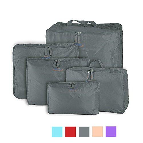 5-stück Gepäck (Bazaar Honana HN-TB11 5 Stücke Reise Aufbewahrungstasche Nylon Gepäck Verpackung Organizer Koffer Reißverschluss Taschen)