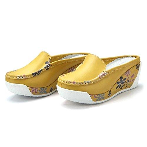 Solshine Chaussures Compensées Femme Jaune