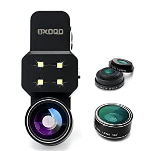 OXOQO Lenti per Cellulari Kit con Luce LED selfie, 3 in 1 Lente Fisheye, Lente Macro, Lente Grandangolo per IPhone 6/6s/6s Plus/5s and Android/Samsung