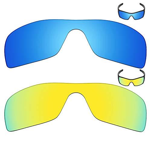 MRY 2Paar Polarisierte Ersatz Gläser für Oakley Batwolf Sonnenbrille-Reiche Option Farben, Ice Blue & 24K Gold
