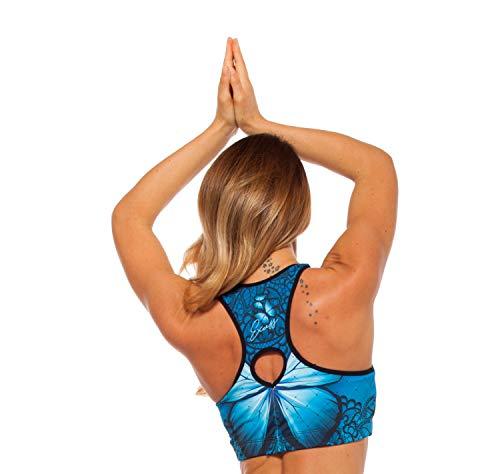Excess Sujetador Deportivo para Mujer Shock Absorber Top Push Up Fitness Yoga Pilates Running Gimnasio Maillot de Ciclismo 3D de Fiesta Mujer Sexy Italiano Camisetas Dim Azul L
