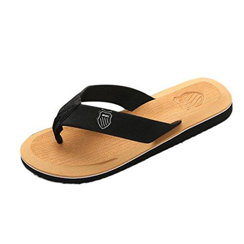 Tongs Plage Homme, LuckyGirls® Hommes Tongs D'Été Sandales de Plage Pantoufles Flip-Flops Homme Sandales avec Logo Mules à Imprimé Slippers Occasionnelles 39~43 (41, Jaune)