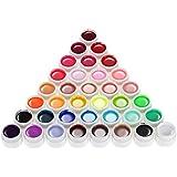 Anself 36 colori Nail Art pigmento Set UV Gel Polish colla solida