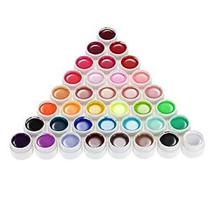 Anself Gel Couleur 36 Nail Art Pigment Set Gel Couleur Ongle UV Colle Solide Polonais