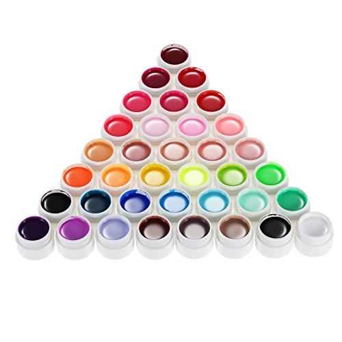 Anself 36 Color Art-Pigmentos Set UV Gel Polaco Sólido Pegamento de Uñas