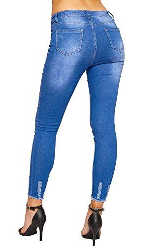 WEARALL Femmes Toile De Jean Affligé Cheville Jambe Jeans Dames Maigre Fit Effiloché Plein Longueur Nouveau - 34-42 Bleu