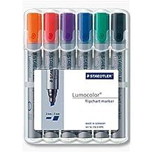 Staedtler Flipchart-Marker Lumocolor, Keilspitze ca. 2 oder 5 mm Linienbreite, Set mit 6 Farben, ideal für Flipchart-Blöcke, farbintensiv, geruchsarm, hohe Qualität Made in Germany, 356 B WP6