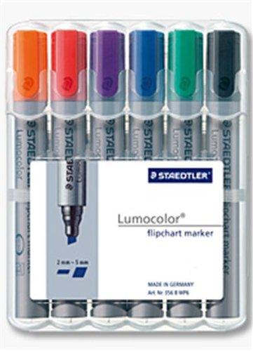 Staedtler Lumocolor 356 B WP6 Flipchart-Marker, Keilspitze ca. 2 oder 5 mm Linienbreite, Set mit 6 Farben, ideal für Flipchart-Blöcke, farbintensiv, geruchsarm, hohe Qualität