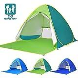 Elover Tente de Plage Pop Up Tente Automatique Abris de Plage Portatif Extérieur pour 2-3 Personnes Tente Anti UV pour Plage Camping Jardin Pêche Pique-Nique (Vert)
