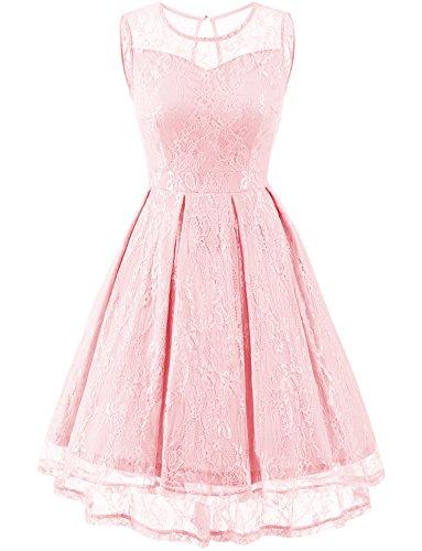 Gardenwed Damen Kleid Retro Ärmellos Kurz Brautjungfern Kleid Spitzenkleid Abendkleider Cocktailkleid Partykleid Pink 2XL